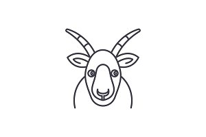 Funny goat line icon concept. Funny