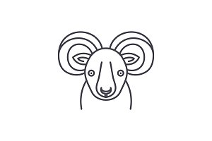 Funny ibex line icon concept. Funny