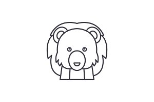 Funny lion line icon concept. Funny