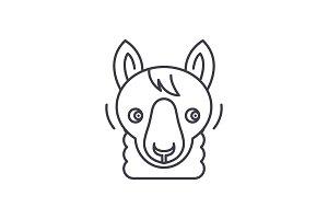 Funny llama line icon concept. Funny