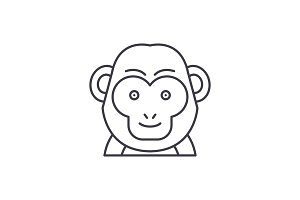 Funny monkey line icon concept