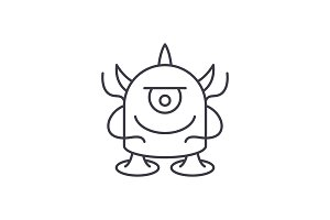 Funny monster line icon concept