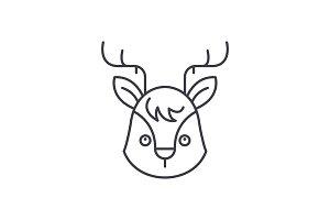 Funny moose line icon concept. Funny
