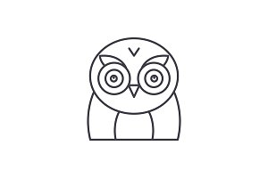 Funny owl line icon concept. Funny