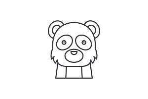 Funny panda line icon concept. Funny