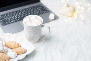 Cozy winter bloggers white work spac