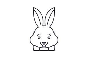 Funny rabbit line icon concept