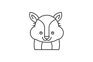 Funny raccoon line icon concept
