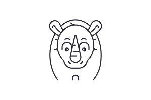 Funny rhino line icon concept. Funny