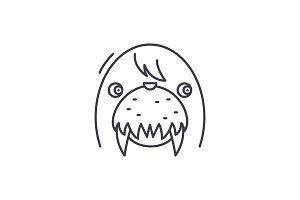 Funny seal line icon concept. Funny