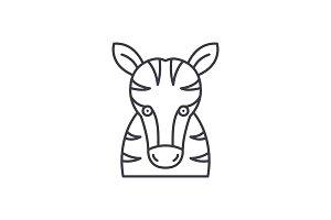 Funny zebra line icon concept. Funny