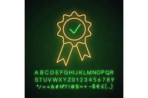 Award medal neon light icon