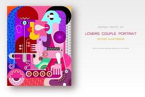 Lovers Couple Portrait vector art