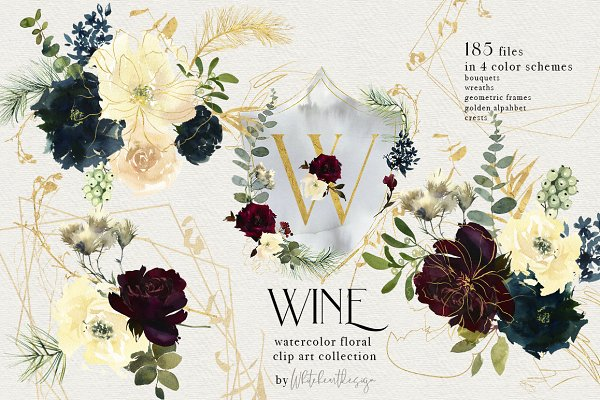 Wine Watercolor Floral Clipart Kit