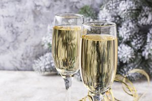 Glasses of champagne, traditional