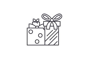 Gift boxes line icon concept. Gift