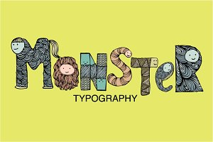 monster typography vector