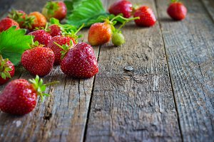 Strawberry on Wooden texture for background