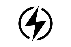 Electric power sign glyph icon
