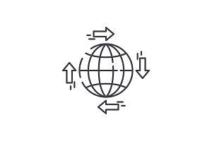 Global distribution line icon