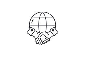 Global partnership line icon concept