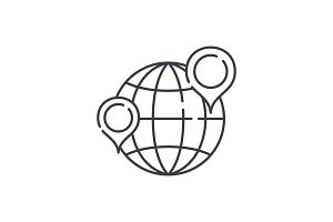 Globe with pointers line icon