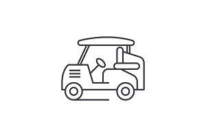 Golf car line icon concept. Golf car