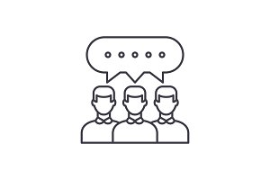 Group discussion line icon concept