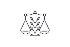 Growing law line icon concept