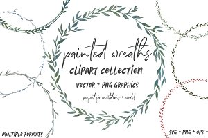 Painted Greenery Wreath Clipart