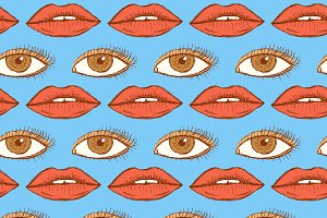 Sketch lips and eye in vintage style