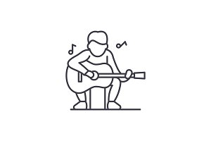 Guitar player line icon concept