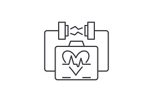 Heart stimulation line icon concept