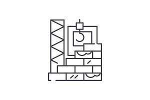 High rise construction line icon