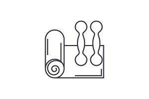 Home fitness line icon concept. Home