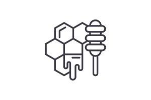 Honey store line icon concept. Honey