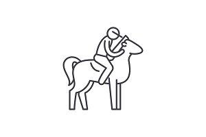 Horseback riding line icon concept