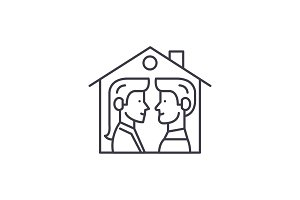 House for two line icon concept