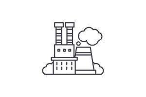 Industrial complex line icon concept