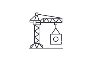 Industrial crane line icon concept