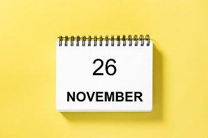 Calendar book date yellow background