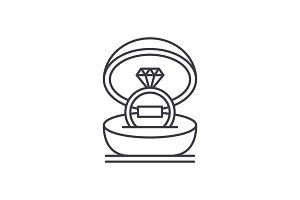 Marriage ceremony line icon concept
