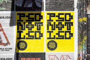 Outdoor urban fly poster set mockup