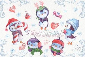 Cute watercolor Christmas penguins