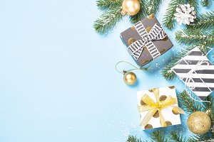 Christmas flatlay background -