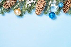 Christmas flatlay background - fir