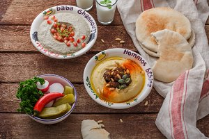 Hummus in traditional lebanon plate