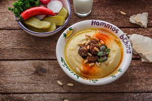 Humus with fried meat and spices