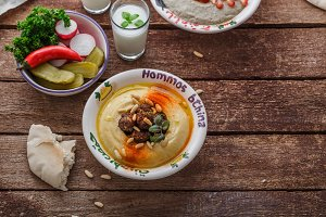 Arabian hummus with fresh salad and