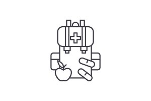 Medical kit line icon concept